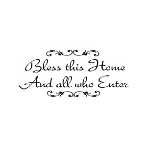 Bless This Home and All Who Enter,Vinyl Wall Decal Family Room Quotes Sayings Stickers Wall Decor