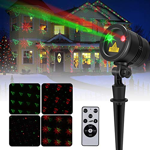 LED Projection Lamp with Pattern, Mini Waterproof Light Projector Red and Green Snowfall Fairy Landscape Spotlight for Holiday Outdoor Decorations US Plug 110V]()