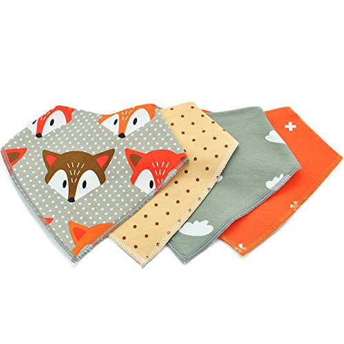Baby Bandana Drool Bibs Organic with Snaps for Drooling and Teething, Fanbiz 4 Pack Bibs for Toddlers,Baby Bibs Set, Bibs and Burp Cloths,Baby Gift Set for Newborn(002)