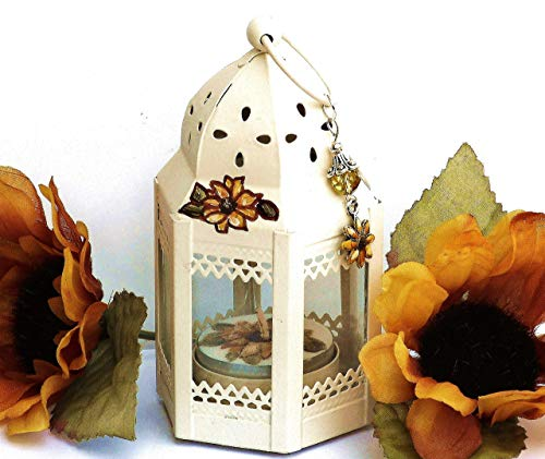 Hand Painted Fall Sunflower Decor Mini Tea Light Candle Lantern Set Autumn Thanksgiving Table Decorations