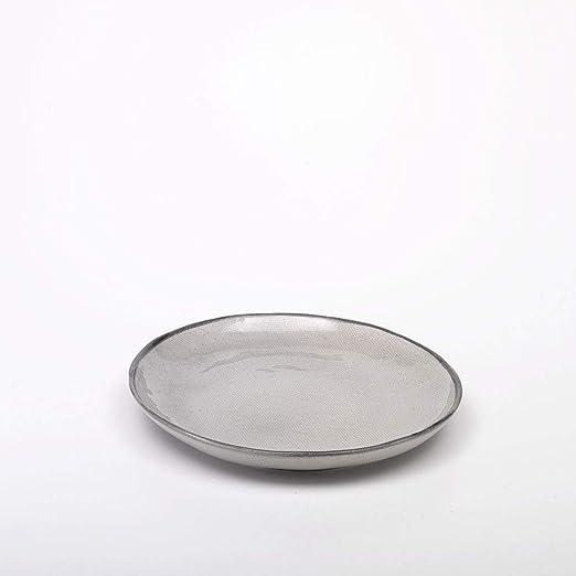 S, M, juego de 6 yute plato llano redonda, diámetro 27 cm Gris ...