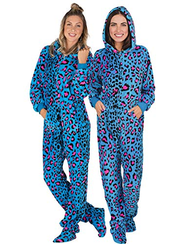 Footed Pajamas Family Matching Blue Leopard Adult Hoodie Chenille Onesie - Medium -