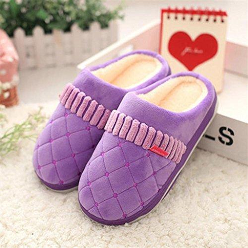 Hausschuhe, Baumwoll-Pantoffeln, Winter-Haus Familie Liebhaber Anti-Rutsch-Soft-Boden-Paket mit dem Indoor dicke Kaschmir warme Wolle Mond Baumwolle Schuhe purple