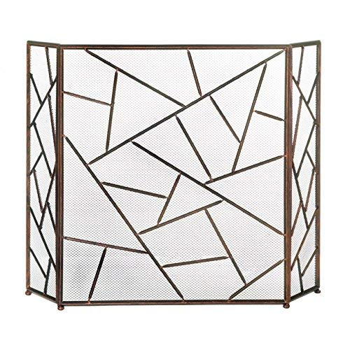 Decorative Fireplace Screens, Three Panel Modern Iron Screen for Fireplace