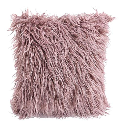 KIKOY Imitation Wool is Super Soft and Comfortable Long Fluffy Pillow Plush Fashion Throw Pillow Cases Cafe Sofa Cushion Cover Home Pillow Cases (Purple)