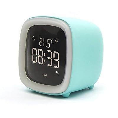 TRQJY Reloj Despertador, Reloj Despertador Digital, Luz Nocturna Pequeña, Silencio, Pantalla De Temperatura Electrónica, Modo De Repetición Infinita, Adecuado para Niños,Azul: Deportes y aire libre