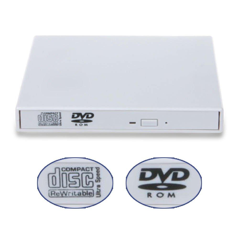 External DVD Drive USB 2.0 External Portable CD- DVD ROM Combo Burner Drive Write for Laptop Notebook PC Desktop Computer(White)