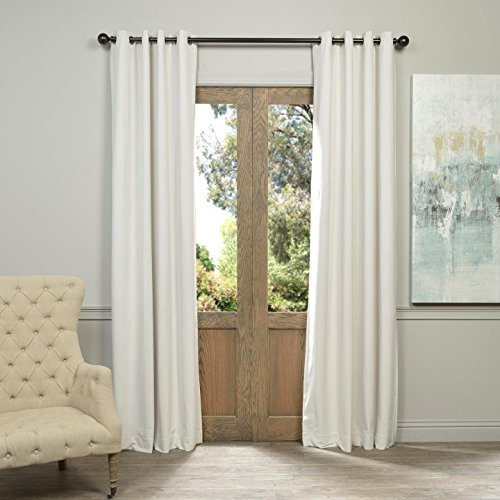 Half Price Drapes VPCH-110602-108-GRBO Signature Grommet Blackout Velvet Curtain, Off White, 50 X 108 (Grommet Lined Drapes)