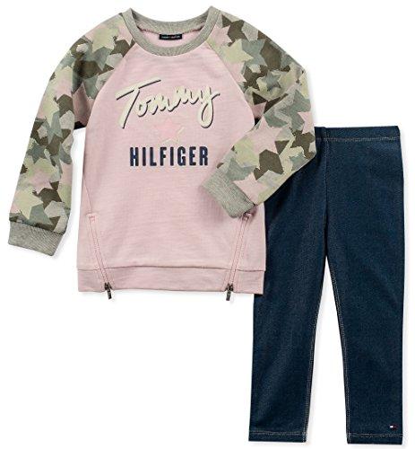 (Tommy Hilfiger Girls' Little' 2 Pieces Tunic Pants Set, Pink/camo/Blue, 6)
