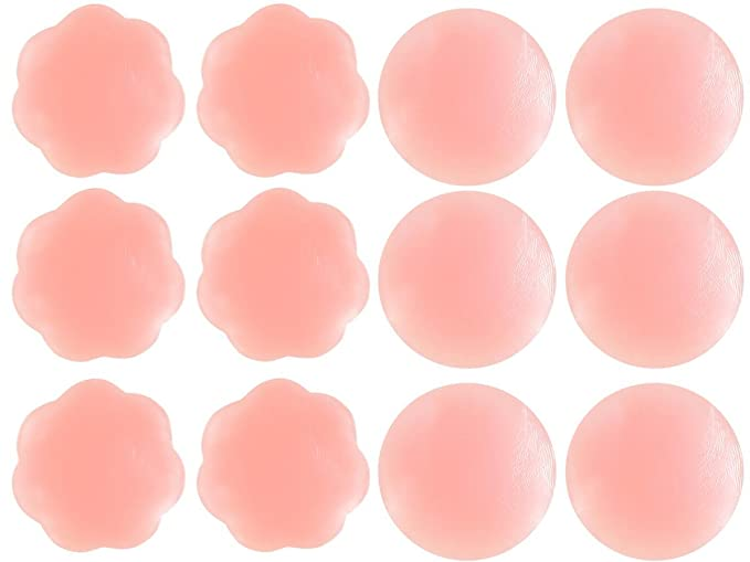 5bc20059988d0 Image Unavailable. Image not available for. Color  Senchanting Thin  Reusable Adhesive Silicone Nipple Covers Breast Petals Pasties (3 pair pair  round+
