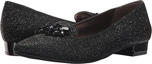 Anne Klein Women's KAMY Leather Loafer Flat, Black/Silver Reptile, 5 M US