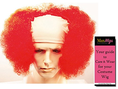 Bald Curly Clown Color Hot Pink - Lacey Wigs Flesh Front Adult colorful Circus Stretch Cloth Professional Bundle With MaxWigs Costume Wig Care (Front Carnival Pirate Costume)
