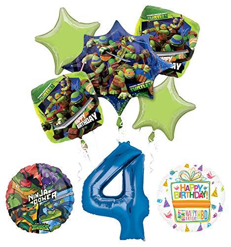 Teenage Mutant Ninja Turtles 4th Birthday Party Supplies and TMNT Balloon Bouquet Decorations ()