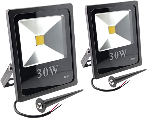 ZSGoes 2 Pack 30W Warm White LED Flood Light Outdoor Waterproof IP66, Wall Floodlight Security Landscape Light, Home, Square, Yard, Garage, Street, Pathway, Low Voltage 12V 24V 36V 48V 60V DC AC