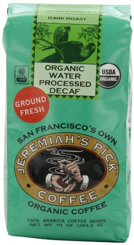 Jeremiah's Pick Coffee Organic Water Processed Dark Roast Decaf Ground Coffee, 10-Ounce Bags (Pack of 3) Ground Decaffeinated Coffee