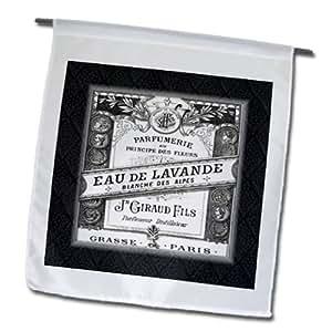 3dRose fl _ 163354_ 1imagen de Vintage francés Perfume Ad en blanco y negro jardín bandera, 12por 45,72cm