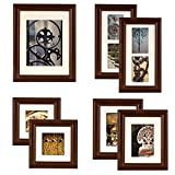 GALLERY PERFECT 7 Piece Walnut Wood Photo Frame Wall Gallery Kit #11FW795. Includes: Frames, Hanging Wall Template, Decorative Art Prints and Hanging Hardware