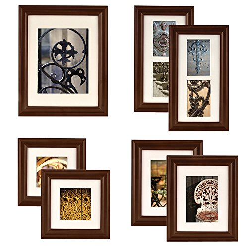 Gallery Perfect 7 Piece Walnut Wood Photo Frame Wall Gallery Kit. Includes: Frames, Hanging Wall Template, Decorative Art Prints and Hanging - Walnut Frame Picture