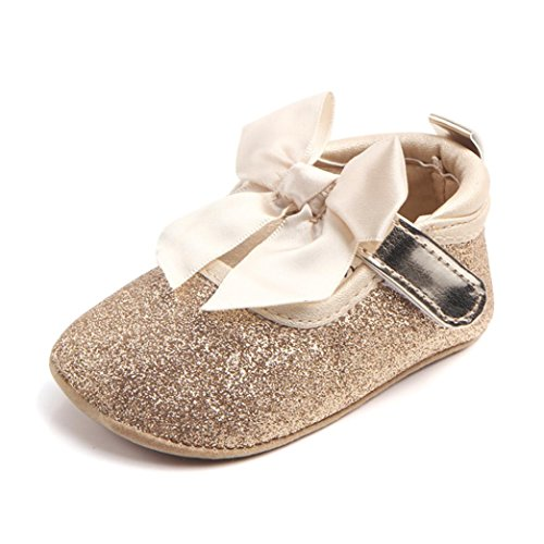 Elaco Infant Baby Girls Moccasins Anti-slip Soft Sole Princess Shoes (6~12 Month, Gold)