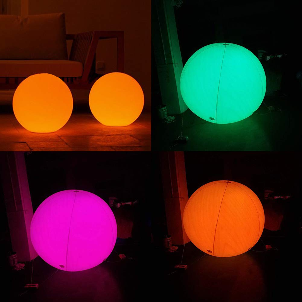 Robbey Floating and Inflatable Beach Ball 23/31.4/39.4/59inch Toy LED Glow in The Dark with Color Changing Lights Great for Spring Break Parties, Pool/Beach Raves Blacklight/Glow Parties (60cm) by Robbey (Image #4)