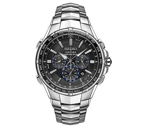 Seiko Men's Radio Sync Solar Chronograph Silvertone with Black Dial