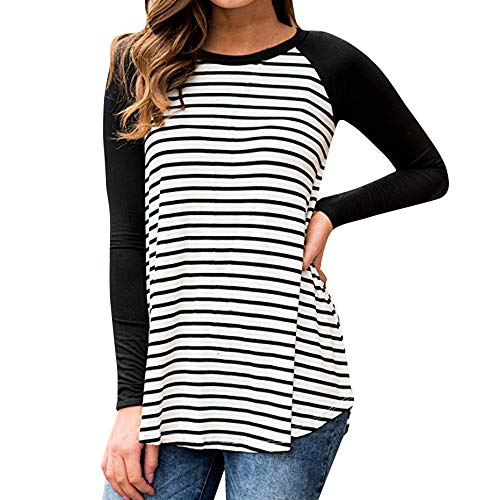 iFOMO Long Sleeve Stripe Crewneck Tunic T-Shirt Loose Casual Tees for Women Black-3 S