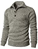 H2H Men Long Sleeve Wool Pullover Basic Knitted Turtleneck Ribbed Sweaters OATMEAL US XL/Asia 4XL (CMTTL091)