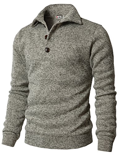 H2H Men Turtle Neck Half Zipper Front Long Sleeve Knitted Pullover Sweater OATMEAL US M Plus/Asia 2XL (CMTTL091) (Men Shawl Sweater)