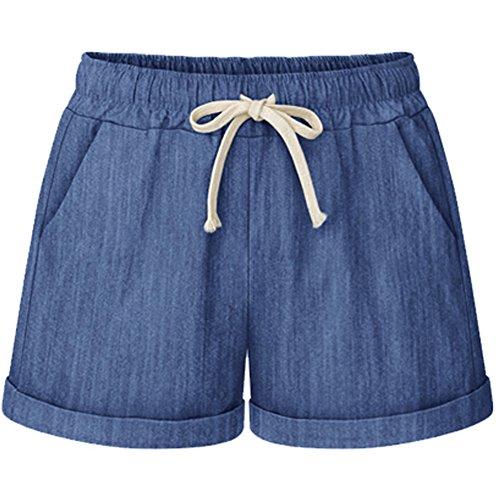 - XinDao Women's Drawstring Elastic Waist Casual Comfort Cotton Linen Beach Plus Size Shorts Denim Blue US XL/Asia 6XL