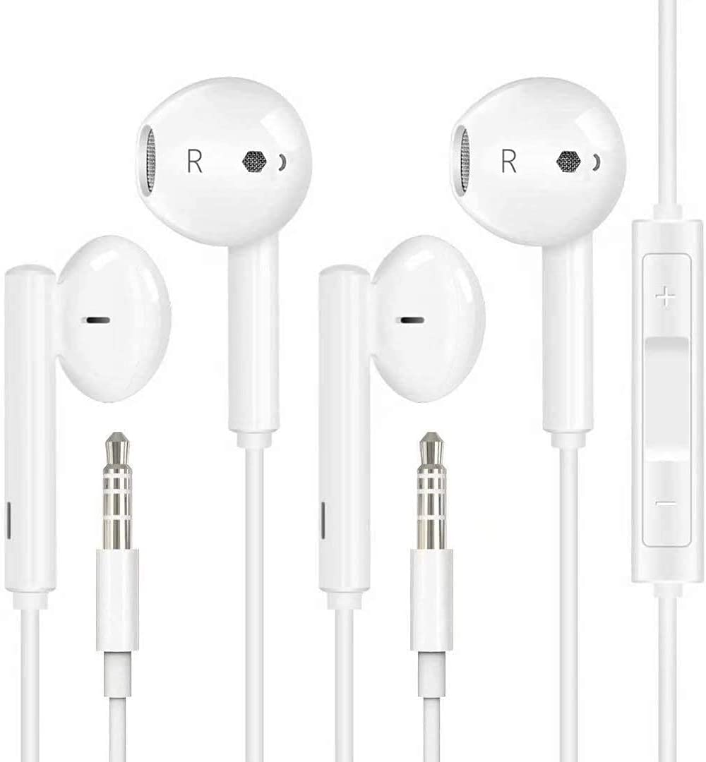 【2pack】 for iPhone Earphones with 3.5 mm Headphone Plug for Mic Call + Volume Control Earbuds in-Ear Headphone Headset Compatible with iPhone 6s / 6plus / 6 / 5s, Android, PC