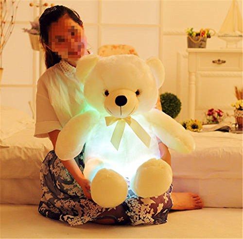 2017 LED Flash Teddy Bear Stuffed Animals Plush Soft Hug Toy Baby Kids Gift New (80CM, yellow)