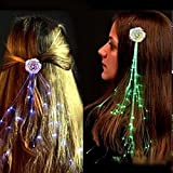 "RioRand 6-pack Light-up Fiber Optic Led Hair Lights (14"" Strands) - Multicolor Flashing Barette - Rainbow Colors (Alternating Multicolors) - Rave Party Hair Accessories (RioRand 6-pack Flashing Barettes)"