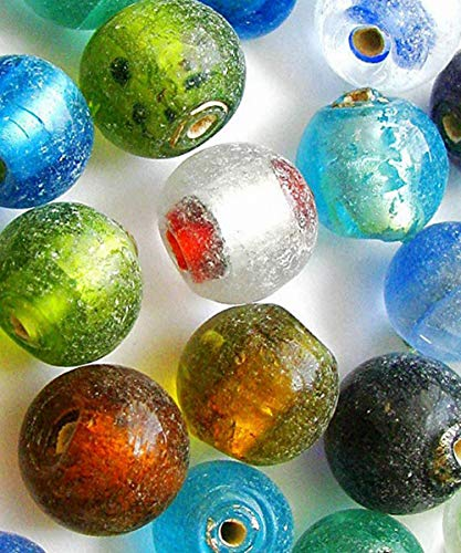 (Linpeng Assorted Colored Indian 28pcs Frosted Glass Beads, Mixed)