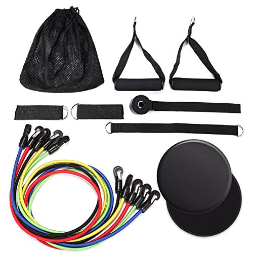 Slimerence 13 PC Resistance Bands Set, Pilates Slide Pads, 5 Stackable Exercise Bands with Carry Bag, Door Anchor Attachment, Legs Ankle Straps, Training, Home Workouts, Fat Loss, Body Shaping