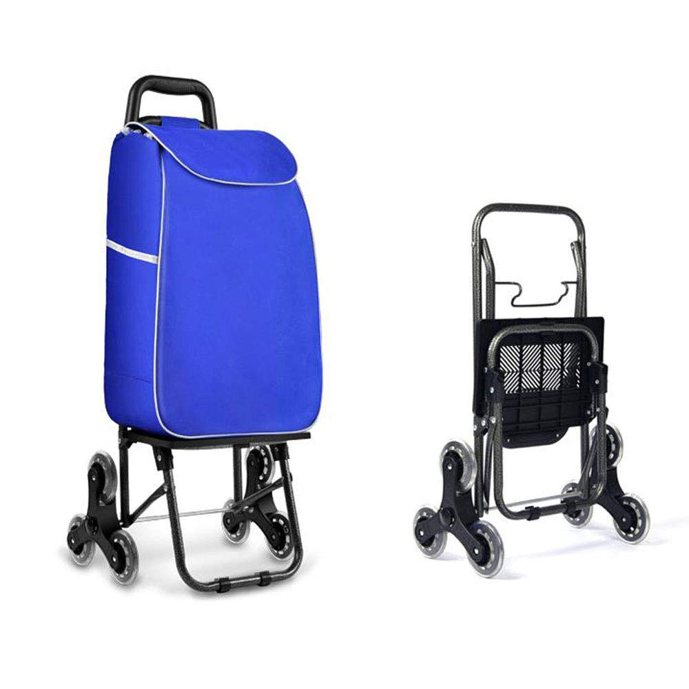 Shopping Cart Shopping Trolley Shopping Bag Luggage Cart Foldable Portable Trolley Pull Rod Household Climbing Stairs Trolley Blue