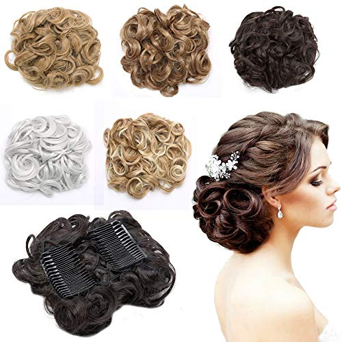 Elailite Messy Curly Combs Hair Bun Extensions Easy Stretch Hair Dish Chignon Clip in Updo Hairpiece Ponytail Scrunchy Accessory for Women 95g Jet Black