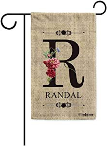 KafePross Welcome Spring Summer Flowers Monogram R Decorative Garden Flag Customized Your Last Name and Initial Letter Home Decor Banner for Outside 12.5X18 Inch Print Double Sided