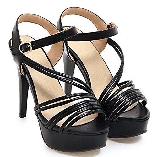 COOLCEPT Mujer Moda Al Tobillo Sandalias Peep Toe Slingback Plataforma Tacon de Aguja Zapatos Negro