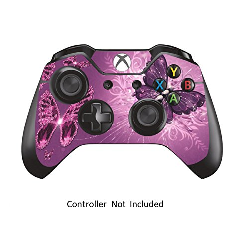 Skins-Stickers-for-Xbox-One-Games-Controller-Custom-Orginal-Xbox-1-Remote-Controller-Wired-Wireless-Protective-Decals-Covers-High-Gloss-Protector-Accessories-Lavender-Butterfie