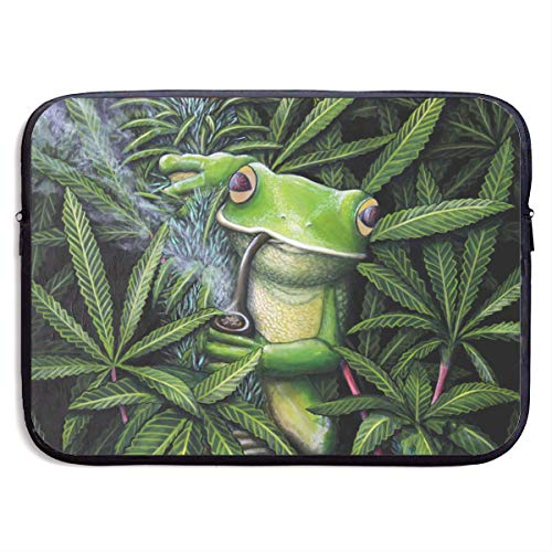 Quilted Frog (Classic Black Water Repellent Neoprene Laptop Sleeve Bag Cover Case Compatible 13 15 Inch, Computer Netbook Notebook Skin - Peeking Frog On Weed Leaves)