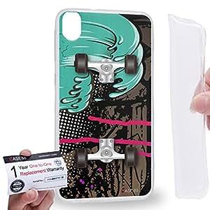 Case88 [HTC Desire 820] Gel TPU Carcasa/Funda & Tarjeta de garantía - Art Design Reggae Skateboard Art2124