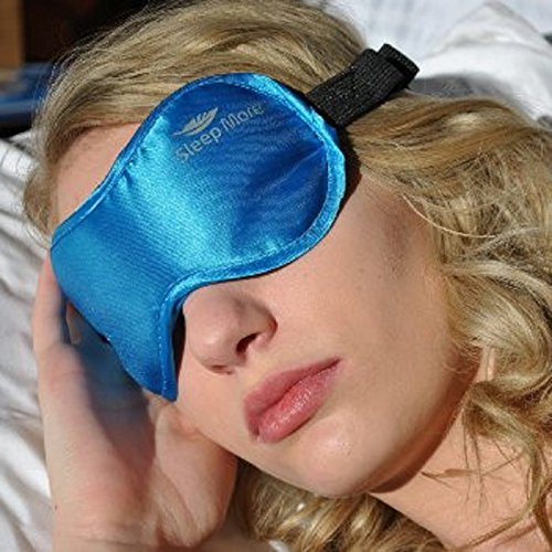 """Sleep More (SMALL-Med Size) Sleeping Mask for Men or Women, with Free """"ONE BAG"""". A BLUE Satin Natural Rest Aid for Sleep Disorders & Insomnia"""
