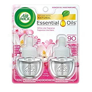 Air Wick White Lilac Scented Oil, (Blend of Cherry & Magnolia blossom combined with elegant Jasmine & apple notes) 0.67 oz, Pack of 2