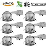 Four-Bros Lighting RM6-SH/LED/6PK 6'' Shallow Remodel LED Recessed Lighting - Line Voltage - IC Airtight -Pack of 6