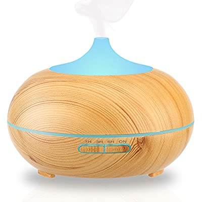 Aromatherapy Essential Oil Diffuser, URPOWER 300ml Wood Grain Ultrasonic Cool Mist Whisper-Quiet Humidifier with Color LED Lights Changing & 4 Timer Settings, Waterless Auto Shut-Off for Spa Baby Home