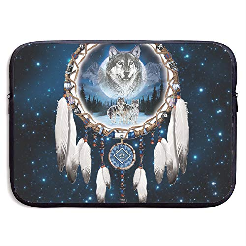 Indian Dream Catcher Wolf Laptop Sleeve Case Bag Cover for Apple MacBook/Asus/Acer/Samsung/DELL/HP/Lenovo/Sony/RCA Computer 15 Inch ()