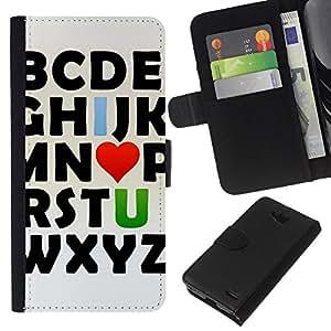 EJOY---La carpeta del tirón la caja de cuero de alta calidad de la PU Caso protector / LG OPTIMUS L90 / --Te Amo alfabeto