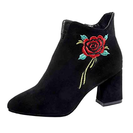 Xinantime - Mujer Botines Mujer Flores Rose Bordada Cuero Botas Zapatos de Tacón para Fiesta Oficina