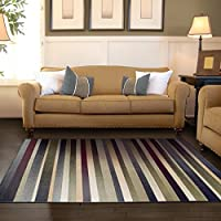 Superior Modern Corona Collection Area Rug, 8mm Pile Height with Jute Backing, Multicolored Stripe Pattern, Anti-Static, Water-Repellent Rugs, 27 x 8 Runner, Multicolored