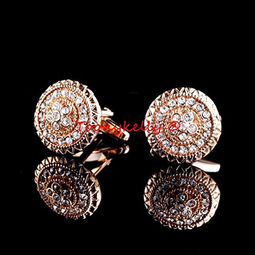 Round white diamond cufflinks male French shirt sleeve button nail wild rose gold cuff decorations for DIY Art Sewing Sew Tailor Clothing - Rose Diamond Cufflinks